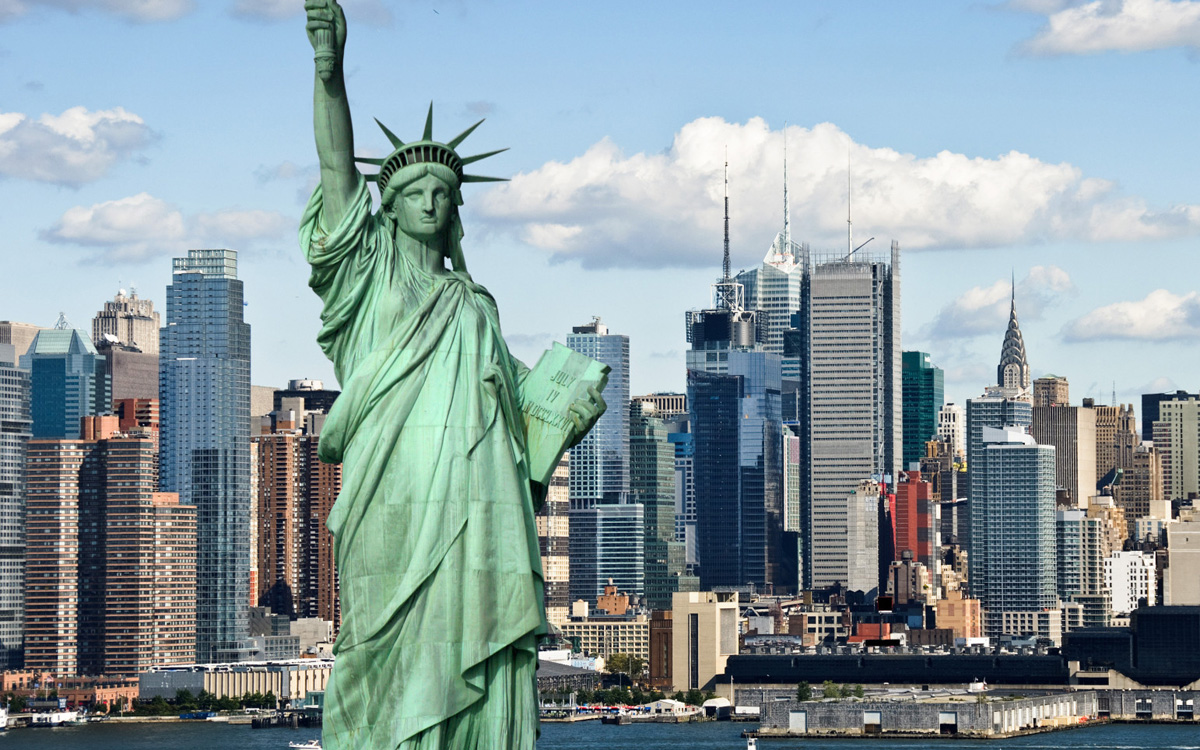 photo tourism concept new york city with statue liberty; Shutterstock ID 59760706; PO: aol; Job: production; Client: drone