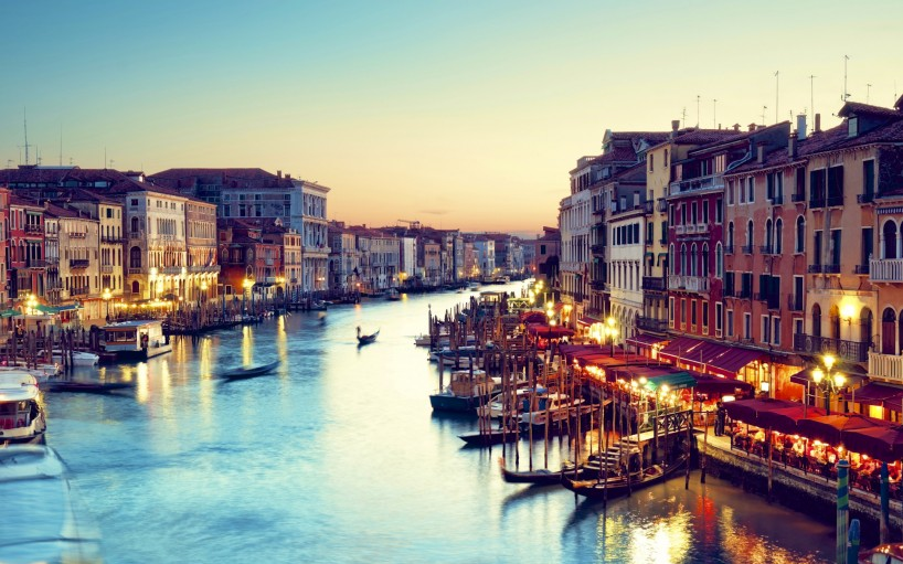 Grand Canal after sunset.
